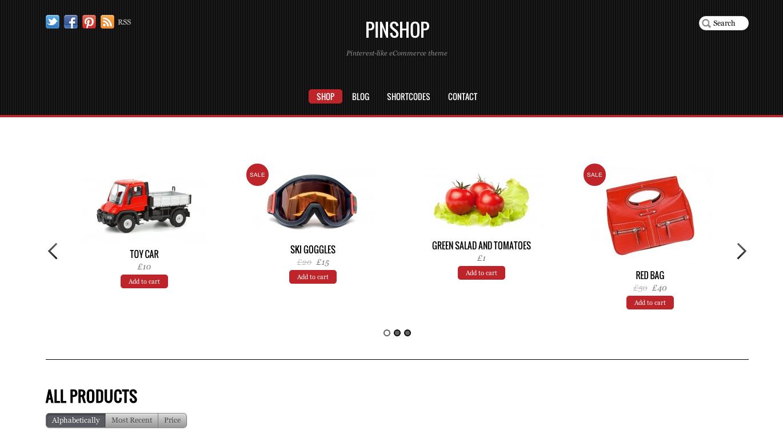 Pinshop Thème Wordpress E-commerce